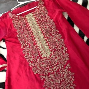Pakistani Silk Kurta w/ embroidery Limelight